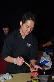 Sono Sushi chef Mike Lee rolls up some sushi at the Triangle Wine Experience.