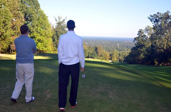Mike Perry of Governors Club, right, takes in the view from the 9th hole of the Mountain course with TBJ's Cameron Snipes.