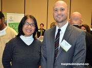 Sol Halliburton with the American Cancer Society, left, and Chris Hunt with NC-SC, right, attended the Healthiest Employers of the Triangle event on Dec. 8.
