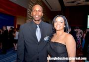 Former NCSU basketball star Rodney Monroe poses for a photo at the Jimmy V gala.