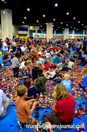 """Kids' minds went wild in the """"Big Brick Pile,"""" which had more than a million Legos."""