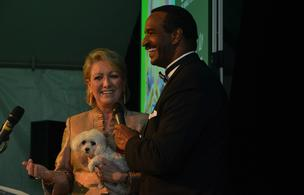 SPCA Executive Director Hope Hancock and WRAL's Gerald Owens address the crowd during the 2012 SPCA Fur Ball.