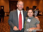 Steve and Cindy Lochbaum pose for a photo. Steve accepted the award for Professional Builders Supply, which was No. 23 in this year's Fast 50.