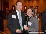 Blair Graham with Grubb & Ellis and The Select Group's Paige Goss smile for the camera at TBJ's 2011 Fast 50 event.