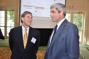 Frank Baird (left) of Capital Associates talks to Michael Morgan of Jones Lang LaSalle.