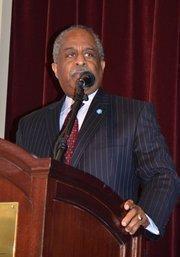 Durham Mayor Bill Bell introduces Capitol Broadcasting's Jim Goodmon as the 2012 Pillar Award winner.