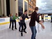 Clean Design's Christmas party included ice skating in downtown Raleigh.