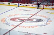The new PNC Arena logo was also present on the ice.