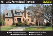 Home features: Built in 2006, this five-bedroom Tudor-style home in the Hope Valley Country Club neighborhood has 7,009 square feet of living space. It has a family room that opens to a covered veranda with a wood-burning fireplace.