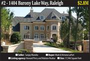 Home features: Built in 2008, this seven-bedroom, European-style home that overlooks a 12-acre lake in The Barony subdivision has 17,946-square-feet of living space. It features a curved marble staircase, an indoor racquetball court, a tennis court, a heated saltwater pool, a six-car garage, a wine cellar and gym. The seller is a Raleigh hotel operator and real estate developer who was one of the partners in the ill-fated Soleil Center hotel and condominium project.