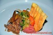 Soy Braised Pork with Beet Infused Sweet Potato Puree, Crispy Wonton and Iced Green Onion Salad - Chef Lee