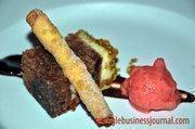 Wonton Pistachio Crusted Blackberry Cake with White Chocolate, Strawberry Sherbet and Pistachio Wonton Cigarette - Chef Wendel