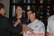 """Chef Michael Lee and Chef Dean Wendel wait to find out who won """"Battle Noodles."""""""