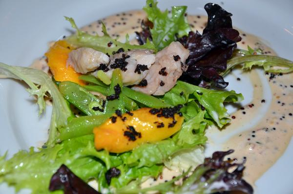 Confit of Sturgeon Salad with Roasted Peaches, Green Beans, Perfect Puree Guava and Black Quinoa Dressing - Chef Ingram