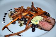 Rosemary Smoked Sirloin with Black Bean and Corn Succotash, Crispy Duck Fat Potatoes and Citrus Butter - Chef Payne