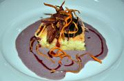 """""""Meat & Potatoes"""" Cocoa and Molasses Crusted CAB Sirloin with Rosemary Sponge Cake, Purple Sweet Potato Custard, Balsamic and Cherries - Chef James"""