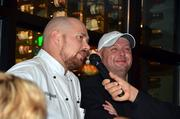Chefs Ryan Payne and Scott James (left to right) enjoy some fun banter before the winner is announced.