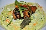 Mangalitsa Bacon Wrapped Carolina Sturgeon with Pesto, Crab, Creamed Corn, Sweet & Sour Peppers & Sturgeon Cracklins - Chef Ingram
