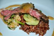 Dr. Pepper Bulgogi Style Buck Creek Skirt Steak with Radish, Cucumber Kim Chee, Candied Ginger and Red Rice - Chef James