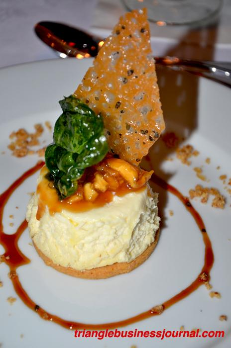 #10 - With a voter score of 74.4%: Peach Cheesecake on Orange Grit Cookie with Brandied Apple Caramel, Pecan Praline Ice Cream and Hawaiian Sea Salt Florentine - Chef Matthew Hannon, Ashten's in Southern Pines