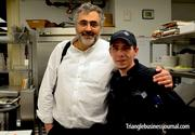 """While in the kitchen with Chef Scofield, restaurant owner Greg Hatem came in to say hello to his chef. """"He's a great chef,"""" Hatem, the founder of the Raleigh-based Empire Properties, said of Scofield. Scofield went over the night's menu with Hatem. The menu included Lemon-thyme goat cheese tartlet as the first plate. After the tartlet came basterma brussels sprouts – layers of thinly sliced basterma under pan seared brussels sprouts, black mission fig puree and a minted yogurt drizzle. Then came a Sumac Rubbed Grilled Quail, followed by a lamb shank with a bing cherry demi and served over a chick pea ragout."""