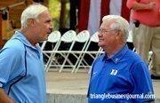 Bob Harris, right, talks with UNC All-American and ex-Washington Redskin, Ken Huff.