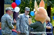 Soldiers spend some time with the Kangaroo Express mascot.