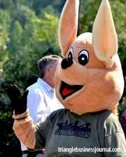 The kangaroo waves to attendees at the Salute Our Troops event at the Koka Booth Amphitheatre.