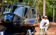 A number of military vehicles were scattered across the lawn at the amphitheatre, including this Vietnam era helicopter.