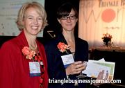WIB winners Paula Brown Stafford, left, with Quintiles, and Smith Moore Leatherwood's Kelly Ensslin enjoy the festivities