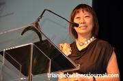 Women in Business lifetime achievement winner Ping Fu, of Geomagic, says a few words after receiving her award.
