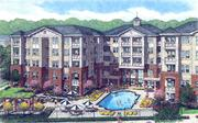 An artist's rendering of the view of the pool area at the Allister North Hills apartment community. Allister North Hills is slated to open in spring 2013 on Ramblewood Drive at North Hills in Raleigh.