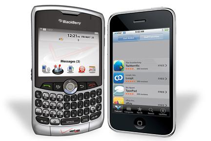 RIM's Blackberry, left, is losing share to iPhone, right, and to Android phones.