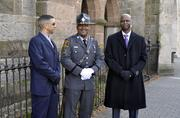 Trooper Anderson, Sgt. Johnson and Trooper Hunt keep order outside Christ Episcopal Church, where a private church service was held prior to the swearing-in ceremony.