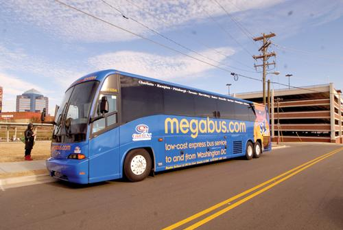 Greyhound Vs Megabus A Megabus makes a stop in