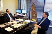 Abram chatting with Franklin Holdings' Bob Myron.
