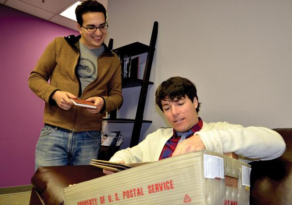 Joel Sadler, seated, and Michael Faber enjoyed a burst of orders from an online initiative.