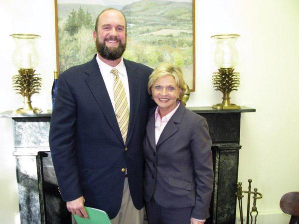 R. Chad Ray with Gov. Beverly Perdue.