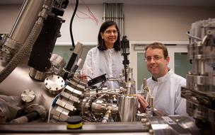Veena Misra, left, and John Muth collaborate on sensor technology research at N.C. State University.