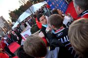 Goaltender Marc-Andre Fleury of the Pittsburgh Penguins was a popular player on the red carpet prior to the NHL skills competition at the RBC Center.