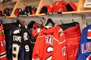 Gear worn by Jonathan Toews, Steven Stamkos and Eric Staal were on display.