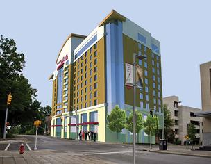 Rendering of proposed Residence Inn in Raleigh.