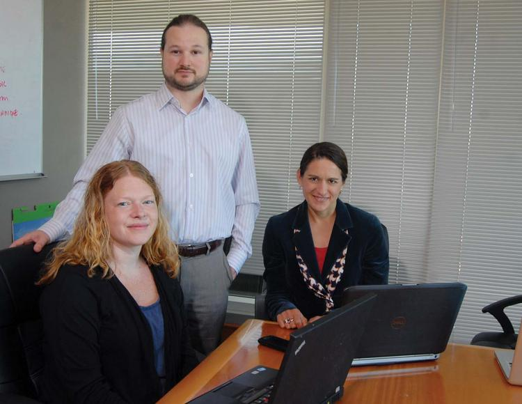 Left to right: Rochelle Cupelli, Jeff Grigston and Alicia Parr of Research Square help global scholars with editing and translation of journal articles.