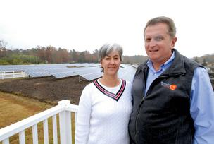 Strata Solar CEO Markus Wilhelm, shown here with his wife and Strata co-founder Cathy Wilhelm, says the company aims to break records with a solar farm in Duplin County.