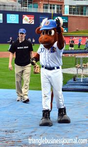 Durham Bulls mascot Wool E. Bull tossed a couple pitches to the kids.