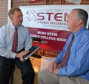 New Schools' Tony Habit, left, with Robert Matheson, principal of Wake N.C. State Early College High School.
