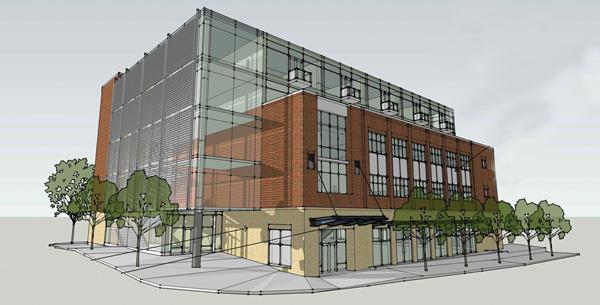 Rendering of a proposed five-story building as part of Stanhope.