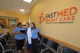 From left, at a FastMed in Raleigh are Noel Basnight, Rebecca Holt and Sara Lagueb.