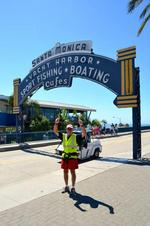 Retired banker finishes his walk in Santa Monica