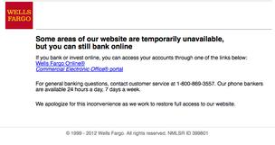 Wellsfargo.com looked like this to many customers nationwide on Thursday  as the bank struggled to provide access in the face of high traffic  volumes.